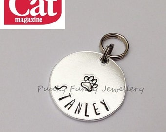 Pet ID tag - cat tag - dog tag - pet tag - double sided for phone number - pet gift - gift for cat - gift for dog - Punky Funky Jewellery