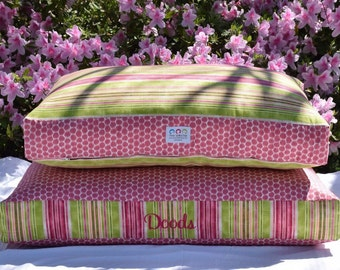 Personalized Pink and Green Stripes Dog Bed || Pink Polka Dots || Add Pets Name || Medium Large Custom Cover Dogbed Pillow