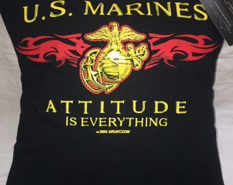 USMC Marines tshirt Pillow 16x16 Upcycled One of a Kind