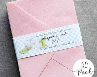 Light Pink Envelopes - 50 Pack - Choose your size - A7 Pink Envelopes - A6 Pink Envelopes - A2 Pink Envelopes - Wedding Envelopes
