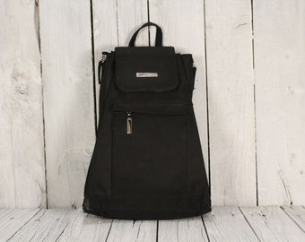 90s Nylon Black Backpack / School College Travel Picnic Weekend Bag / Nylon Rucksack / Gift for Her / The Vintage Europe