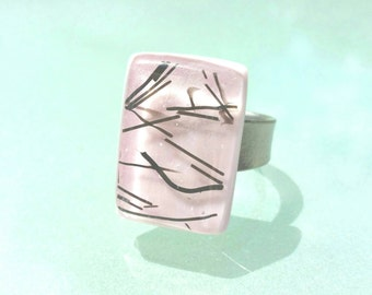 pink Adjustable ring fusing glass handmade, pink jewelry