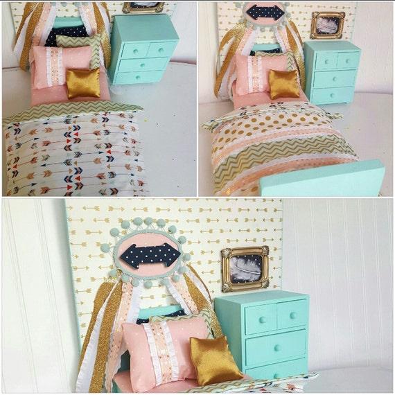 American Girl Doll Bedroom: Arrow Doll Bed Set 18 Doll Bed Doll Bedding Doll Bed