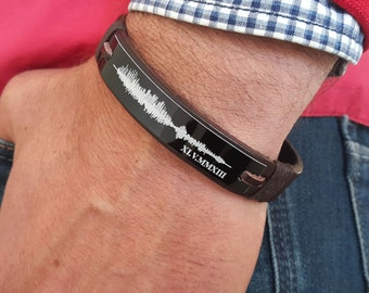 Personalized Gift for Him, Valentine Gift for Boyfriend, Leather Sound Waves Jewelry, Voice Wave Engraved Gift for Husband, Memorial Gift