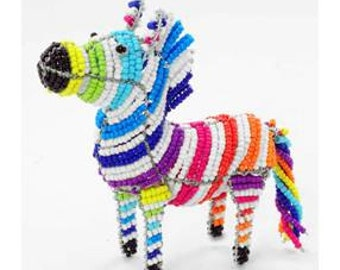 Collectible Beaded Zebra Figurine - Wireworx wire and glass beaded animal
