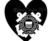 Coast Guard Decal - Coastie Decal - I Love My Coastie - Coastie Wife - Coastie Mom - Military Decal - Armed Forces Decal - USA Decal