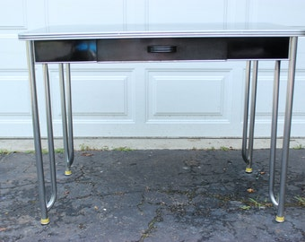 Vintage Retro Hoosier style Black and Chrome Kitchen farm house Work table Desk with Drawer