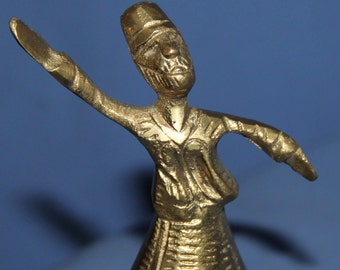 Vintage Small Dancing Dervish Brass Figurine
