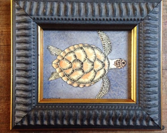 Original Ink and Watercolour of a Sea Turtle