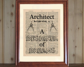 Architect Dictionary Print, Gift for Architect, Architect Office Decor, Architect Quote, Architect Print, Architect Wall Art, 5x7 or 8x10