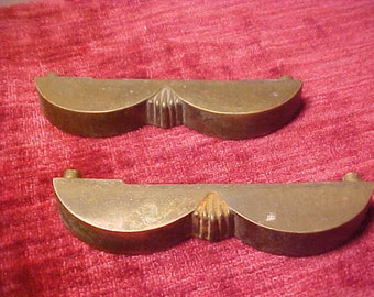 "Pair of Vintage Cast Brass Drawer Pulls 3 1/2"" Centers 3 7/8"" Overall"