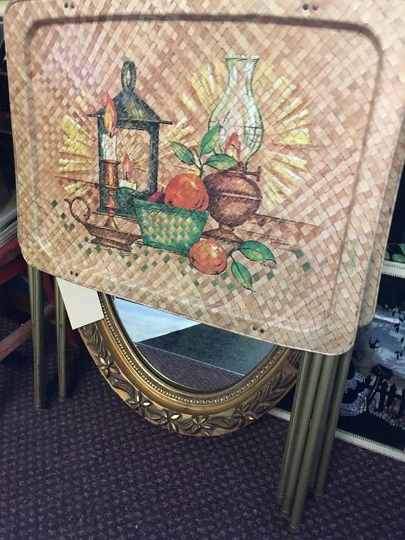 Vintage Metal Tv Trays Lantern Fruit Basket Weave Pattern 1970