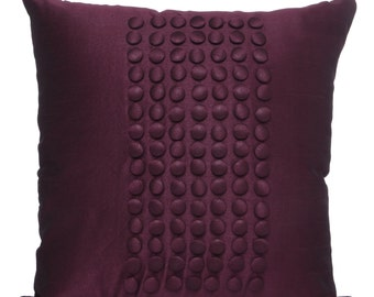 Solid Plum Pillow Cover With Button Panel Plum Textured Sham Plum Throw Pillow 14x14 16x16 18x18 20x20 22x22 24x24 26x26