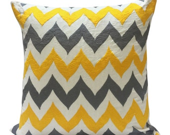 Chevron Pillow Yellow Pillow Grey Pillow White Pillow Embroidered Pillow Geometric Pillow 24x24 Sham 26x26 Euro Sham Decorative Pillow