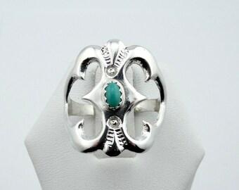 Vintage Southwest Turquoise and Sterling Silver Ring #SMTB-SR2