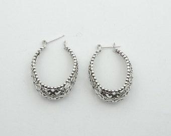Lovely Art Deco Decorative Detail Vintage Sterling Silver Earrings #VTGSSE-SE1