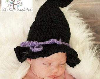 Newborn Witch Hat - Newborn photography prop, newborn boy hat, newborn girl hat, crochet pumpkin toddler hat