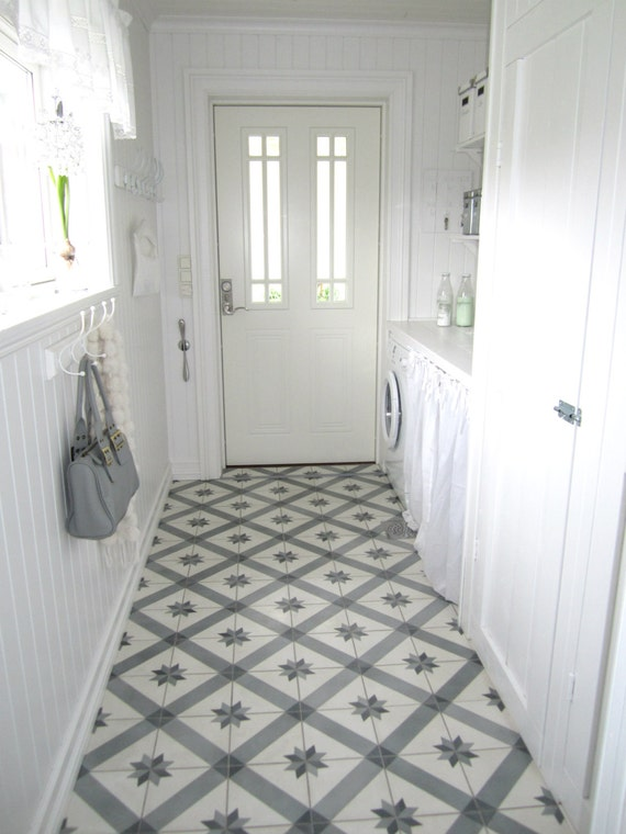 Vinyl floor tile sticker floor decals carreaux ciment - Saint maclou carreau ciment ...
