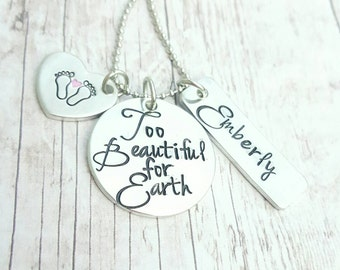 Baby loss keepsake necklace * Child loss * Mother's necklace * Too Beautiful for Earth * Angel Wing * Infant Loss * Personalized