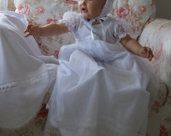 DAISY white Christening Gown , White Lace Baptism Gown, Baptism dress, Christening set