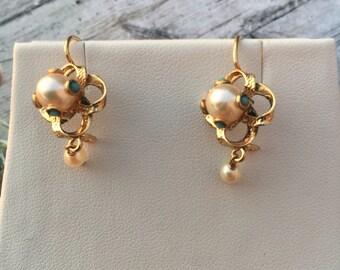 Edwardian pearl turquoise drop earrings 14K
