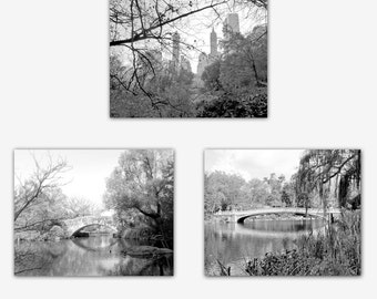 Photography Print, Set of 3, New York, Black and White, Photography Set, Central Park, Bridge Photo, NYC Wall Art, 8 x 10, 11 x 14 Prints