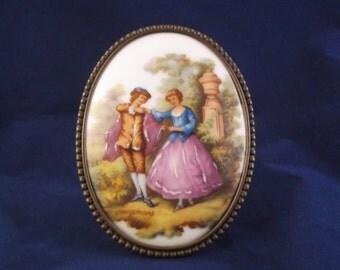 Vintage Limoge Plaque-Fragonard-Romantic Courting Scene-Avon Co France