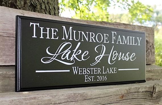 Personalized Lake House Sign Lake House Decor Wood Lake