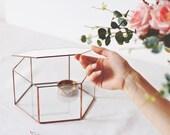 Glass Jewelry Box, Makeup Storage, Wishing Well Box, Geometric Photo Box, Keepsake Box, Glass Card Box, Copper Hexagon Box, Rose Gold Decor