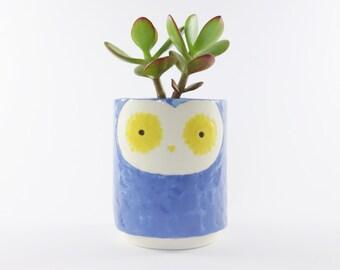 Little Blue Owl Planter - Hand Painted Owl Ceramic Plant Pot - Succulent Pot