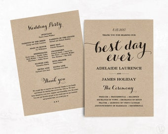 Wedding day program | Etsy
