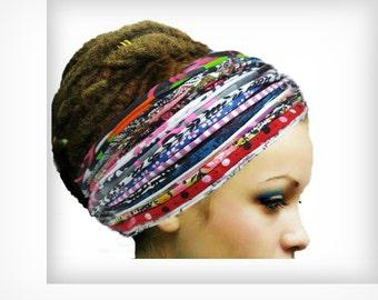 Dreadlock Headband Multicoloured Head Scarf New Fashion Headbands Patchwork  Boho Chic Head Wrap Yoga Boho Hippie Flower headband Sweatband