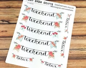 WEEKEND Planner Stickers - Mint Spring Collection - Weekend banners - INKWELL Press, Happy Planner, Erin Condren! {#160378}