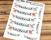 WEEKEND Planner Stickers - Mint Spring Collection - Weekend banners - INKWELL Press, Happy Planner, Erin Condren! {#160378}