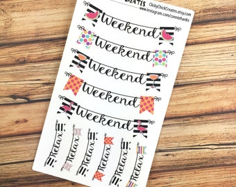 WEEKEND Planner Stickers - SUMMER CHIC - Weekend banners - perfectly sized for Inkwell Press, Erin Condren, Happy Planner! {#160603}