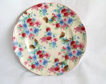 vintage johnson bros farmhouse chic, chicken chintz fluted salad plate, cottage chic, hen salad plate