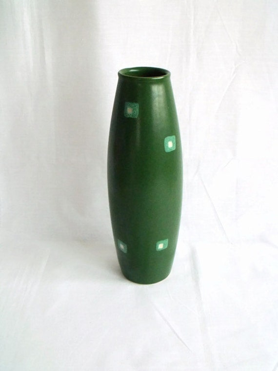 vintage Amano German bullet vase, art pottery, green tall vase, modernist vase, small chip to base