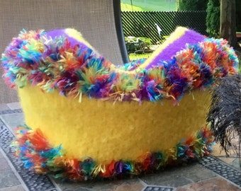 Knit by Hand, Felted Art Vessel, Yarn Bowl, Small Cat Cave