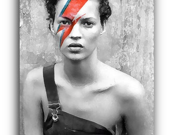 Kate Moss Ziggy Stardust Canvas Art Print A1 A2 A3 A4