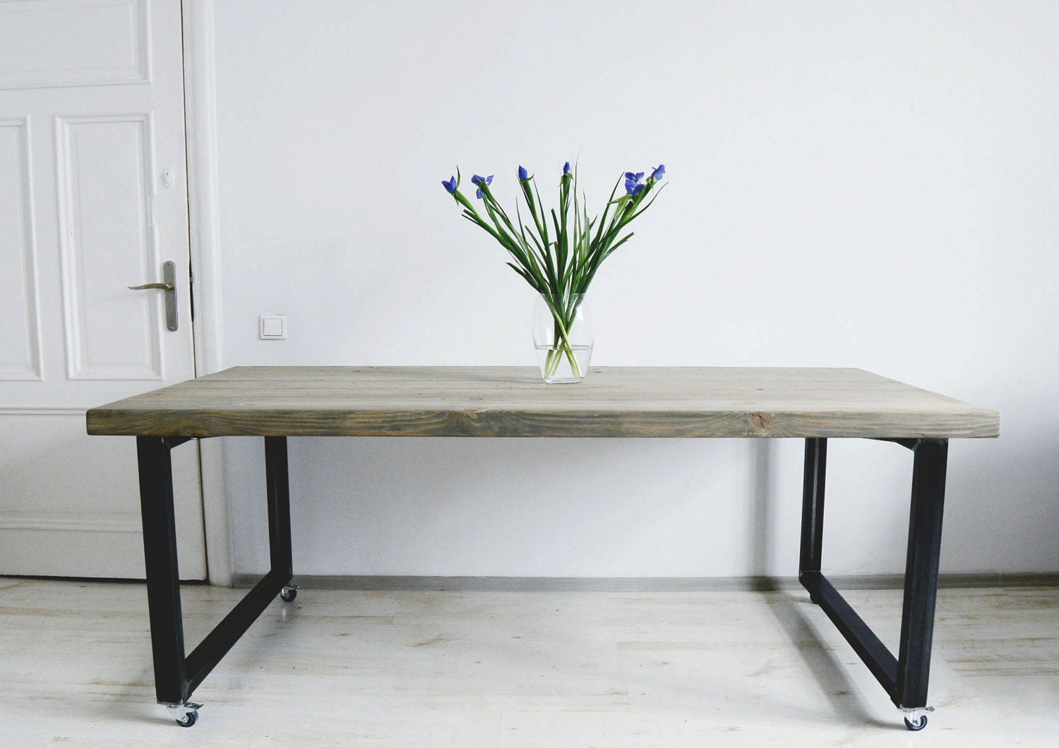 Superb img of Coffee Table On Wheels Wooden Table Metal Legs Industrial Etsy with #466138 color and 1500x1060 pixels
