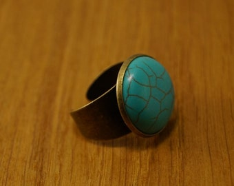 Ring in bronze and turquoise stone