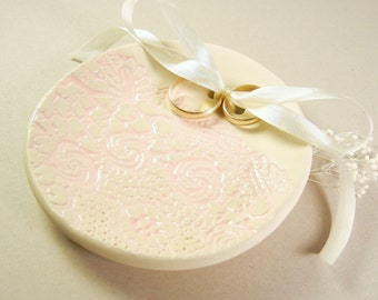 Ring Bearer Bowl, Wedding Ring Dish, Ring Plate, Clay, Vintage Lace, Silk Ribbon, Cream, Pink