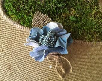 Boutonniere/ Blue jean boutonnière/boutonnière/ groom's wedding accessory/ celebration boutonnière/ woodland boutonniere/ rustic boutonnière