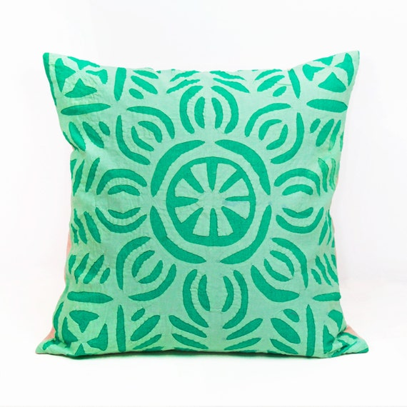 Sea Green Pillow Handmade Pillow Case Applique by UrbanHutch