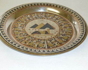 Vintage Egyptian Pyramids Sphinx Metal Plate Wall Art Hanging Copper Brass Silver Tone Engraved