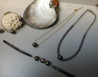 Tahitian Pearl 12mm  modern crystals and fresh water pearls resort necklace