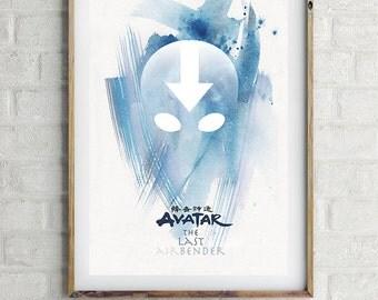 "AVATAR The Last Airbender - Original Art, Minimalist Movie Poster Print 13 x 19"""