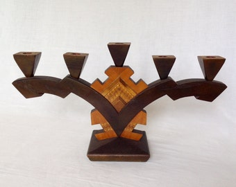 Inlaid Oak Art Deco Candelabra