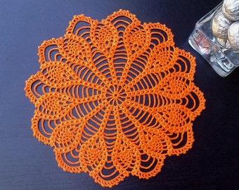 Crochet Doily orange Hand crochet doilies Table decoration Cotton crochet doily Lace doily