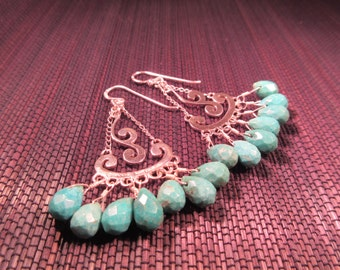 Cool Sterling Silver Turquoise Gypsy Earrings - Barse